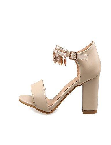 ShangYi Women's Shoes Chunky Heel Open Toe Sandals Dress Blue / Pink / Almond Blue D9RIaqX