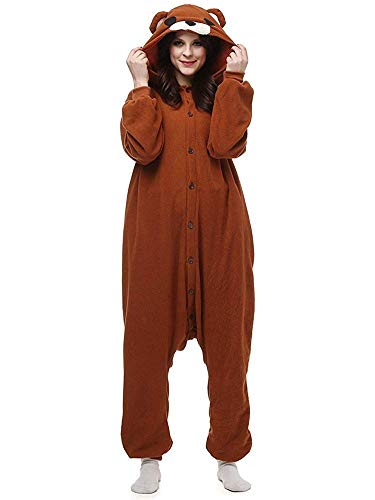 Women's Sleepwear Halloween Unisex Adult Pajamas Cosplay Costume Animal Onesie Sleepwear Nightwear (S (Height:4'9''-5'3''/146cm-159cm),Brown Bear)