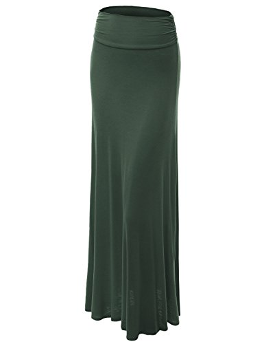 Solid Stretch Jersey - Made By Johnny WB296 Womens Lightweight Floor Length Maxi Skirt M Olive