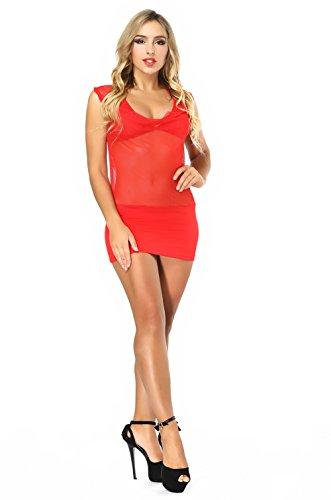 Ladymoon rosso 1 Trasparente Nero Babydoll Pigiama Vestito Intero Lingerie Sexy Donna Stile pr6OwZapq