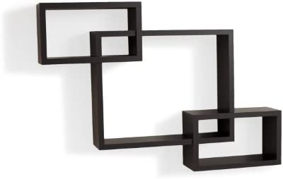 Danya B. YU008 Floating Squares Shelving Unit – Wall Mount Intersecting 3 Box Wall Shelf Espresso