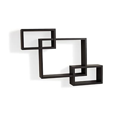 Danya B. YU008 Floating Squares Shelving Unit - Wall Mount Intersecting 3 Box Wall Shelf - Espresso - This decorative wall decor provides three storage cubbies plus level display space on top. Can be hung both vertically and horizontally. Works with many different styles of home and office decor. - wall-shelves, living-room-furniture, living-room - 31Vv8B2VarL. SS400  -