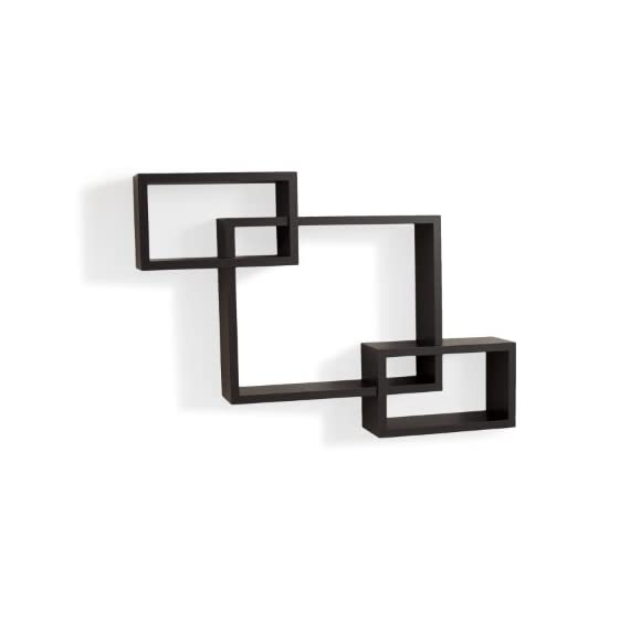 Danya B. YU008 Floating Squares Shelving Unit - Wall Mount Intersecting 3 Box Wall Shelf – Espresso - This decorative wall decor provides three storage cubbies plus level display space on top. Can be hung both vertically and horizontally. Works with many different styles of home and office decor. - wall-shelves, living-room-furniture, living-room - 31Vv8B2VarL. SS570  -