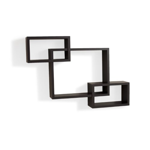 Danya B. YU008 Floating Squares Shelving Unit - Wall Mount Intersecting 3-Box Wall Shelf - Espresso