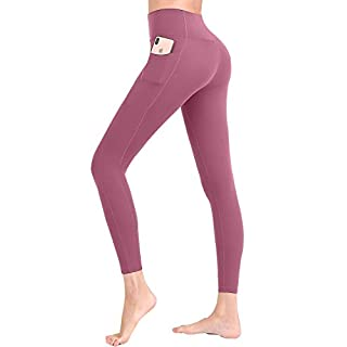 Womens Athletic Gym Running Pocket Compression Pants High Waisted Sport Yoga Tummy Control Legging Red XL