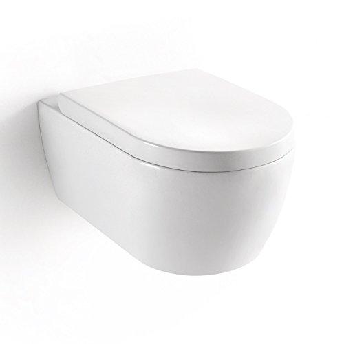 Soho Hänge Wand WC ohne Unterspülrand Toilette Brillant Weiss mit Duroplast WC-Sitz und Nano Beschichtung
