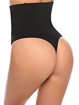 Ceesy Women's Shapewear Hi-waist Butt Lifter Shaper Thong Tummy Control Panties