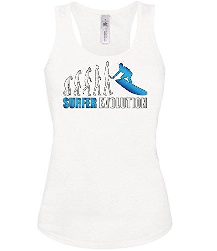 SURFER EVOLUTION mujer camiseta Tamaño S to XXL varios colores S-XL Blanco / Azul