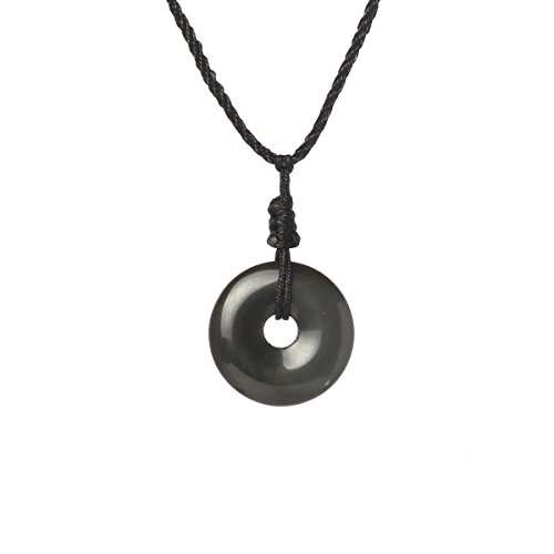 MATT HANN Rainbow Eye Obsidian Safty Circel Pendant Original Handmade Grouding Stone Protection