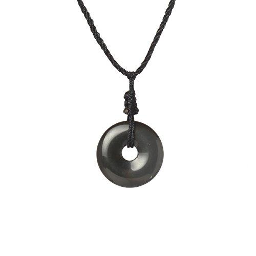 MATT HANN Rainbow Eye Obsidian Safty Circel Pendant Original Handmade Grouding Stone Protection (Obsidian Pendant)