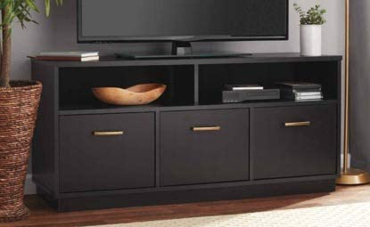 Amazon Com Tv Stand For 50 Inch Tv Black Wood With 3 Cabinet And Shelves Display Your Tv In Style Furniture Decor