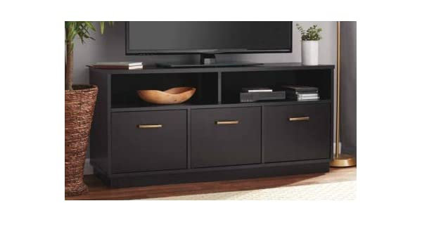Amazon Com Tv Stand For 50 Inch Tv Black Wood With 3 Cabinet And