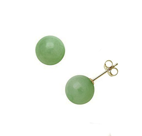 14K Yellow Gold 8mm Natural Green Jadeite Round Stud Post Earrings Assembled in the U.S.A