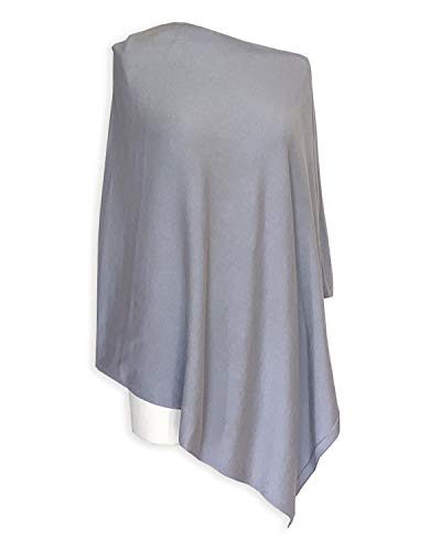 - 100% Organic Cotton 5-Way Knit Poncho Sweater Pullover Topper, Super Soft, All-season (15 COLORS) (Silver Grey Plus Size)