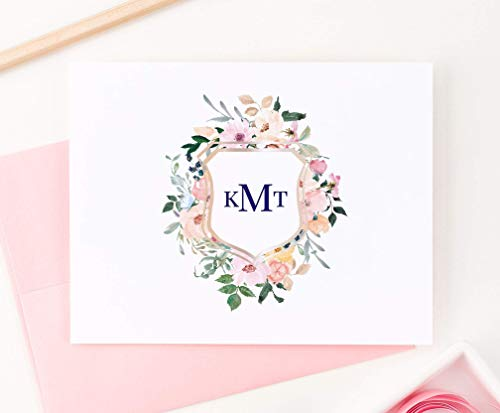 (Floral Monogram Crest Stationery, Modern Floral Stationery, Floral Note Cards, Floral Stationery, Monogram Stationery for women, Your Choice of Colors and Quantity)