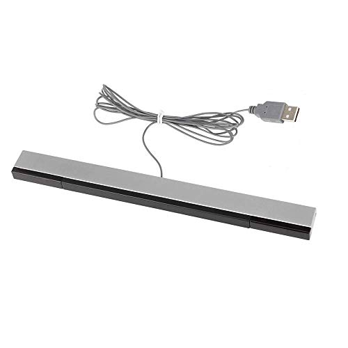 - USB Wired Wii Sensor Bar, Replacement Infrared Ray Motion Sensor Bar for Nintendo Wii/ Wii U/ PC -Black & Silver