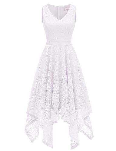 Dressystar 0036 Vintage Lace V-Neck Asymmetrical Handkerchief Hem Cocktail Formal Swing Dress M White