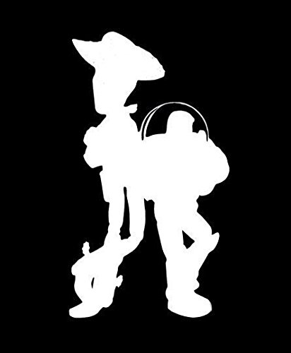 Makarios LLC Woody And Buzz Toy Story Silhouette Decal Vinyl Sticker Cars Trucks Vans Walls Laptop MKR| WHITE |2.75 x 5.25 IN|MKR107 ()