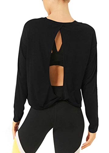 Bestisun Long Sleeve Workout Clothes Open Back Shirts Athletic Long Sleeve Shirts for Women Black M