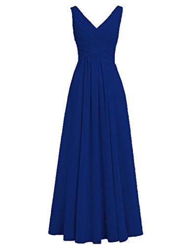 Festliche Abendkleider Rückenfrei Ausschnitt Königsblau Lang Brautjungfernkleider Linie HUINI A Hochzeit Kleider V Chiffon Ballkleider q85v6wp