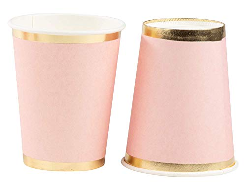 Pink Paper Cups - 50-Pack 9oz Disposable Cups, Light Pink with Gold Foil Rim, Baby Shower, Birthday Decorations, Bridal Shower Party Supplies, 9 Ounce Capacity for $<!---->