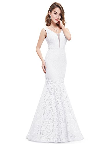 Ever-Pretty Womens Sexy Double V-Neck Fitted Lace Mermaid Style Cheap Weeding Dress 14 US White (Dress Lace Stretch)