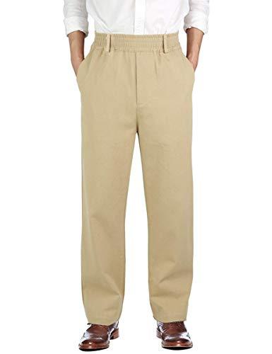 (IDEALSANXUN Men's Casual Relaxed Fit Elastic Waist Twill Pant (Light Khaki(Twill), 36))