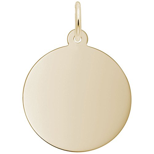 (Rembrandt Charms, 3/4 in Disc, 1.27mm Thick 22k Yellow Gold Plated Silver, Engravable )