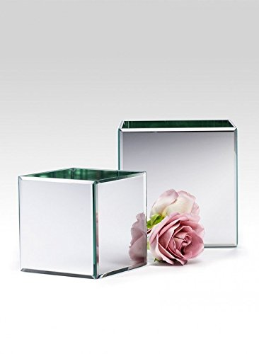 Serene Spaces Living Gatsby Beveled Mirror Cube (5in H x 5in SQ) (Flower Tin Mirror)
