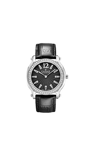 Charmex Women's EZE 31.5mm Black Leather Band Steel Case Sapphire Crystal Quartz Analog Watch 6352