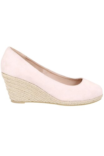 Yours Clothing Wide Fit Women's Closed Toe Espadrille Wedges In True Eee Fit Nude