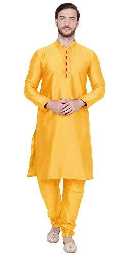 SKAVIJ Men's Art Silk Kurta Pajama Indian Traditional Dress (Medium, Gold)