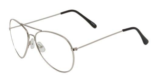 Gravity Shades Silver Frame Clear Lens Aviator Sunglass w Micofiber - Glasses Dynamite Napoleon