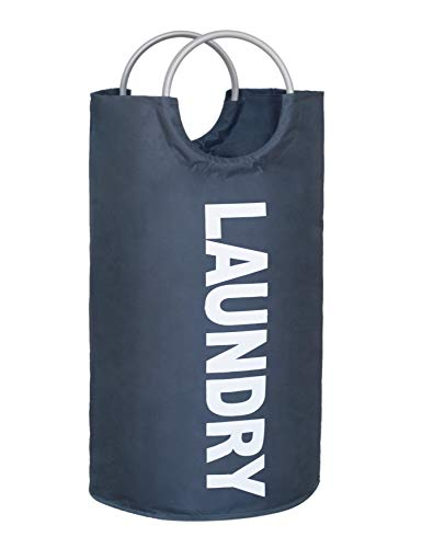 Topline Portable, Self Standing Collapsible Laundry Fabric Hamper Tote Bag with Aluminum Carrying Handles - Dark Grey