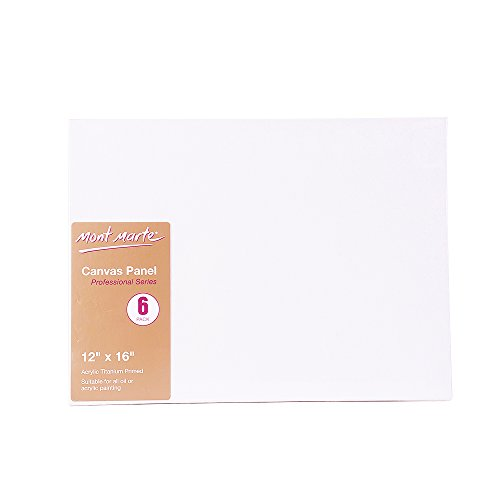 Mont Marte Canvas Panel (pack of 6), 12 X 16 inches, Canvas Panel Great for Students to Professional Artists (12 X 12 Wood Panel compare prices)