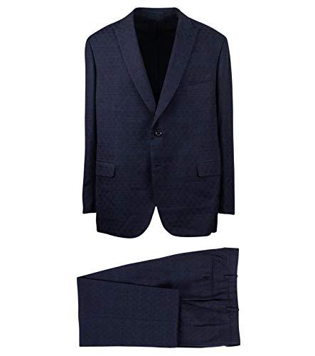 (Brioni Men's Check Wool 2 Button Classic Fit Suit 60/ R Drop 6 50 Blue)