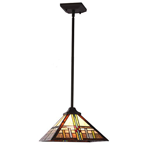 MELUCEE Pendant Lighting Tiffany-Style Mission, 1-Light Mini Chandelier 12-inch Glass Shade Light Fixtures Ceiling Hanging for Dining Room Kitchen Island Bedroom (Lighting Kitchen Tiffany Style)