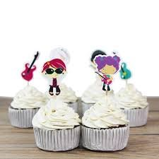Kids Rock Star Cupcake Toppers Food Picks Guitar Music Birthday Party Toppers Pack of 24]()