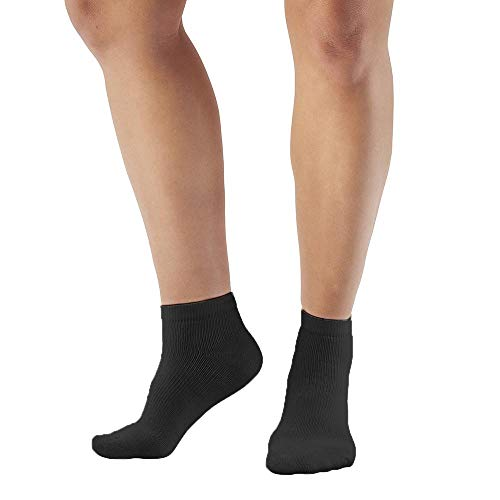 Ames Walker AW Style 140 Coolmax 20 30 mmHg Firm Compression Anklet Socks Black Small Relieves Tired Aching and Swollen Legs Symptoms of varicose Veins Keeps feet Dry and Comfortable
