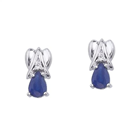 14k White Gold 6x4mm Pear-Shaped Sapphire and Diamond Stud Earrings