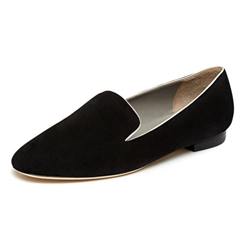 Black suede loafer flats with white kid trim 9q8GZclWP