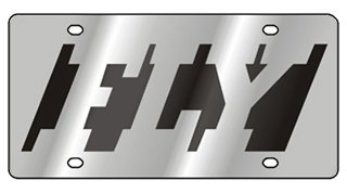 FLY Black Negative Fly Word Stainless Steel License Plate Black Cutouts Eurosport Daytona Inc.