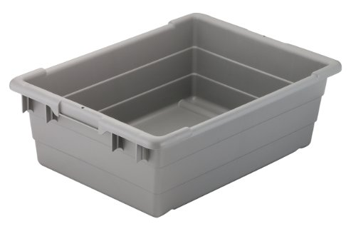 Akro-Mils 34303 Cross-Stack Plastic Tote Tub, 24-Inch by 17-Inch by 8-Inch, Case of 6, Grey