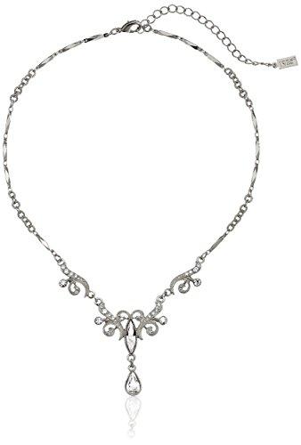 "1928 Jewelry Silver-Tone Crystal Teardrop Necklace, 15"""