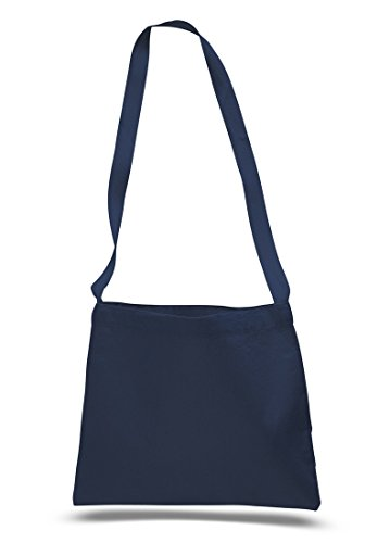 Cross Body Canvas Totes Small Messenger Tote Bags Long Shoulder Straps (Set of 1, Navy)