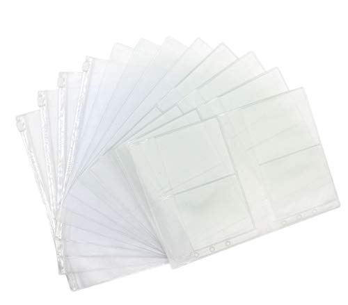 Index Card Binder Refill - Eilova 6-Hole Clear PVC Binder Pockets Fit 6 Rings Loose-Leaf Notebook Refills File Document Pouch Bag Business Card Holder Pencil Case(A5, 12Pack)