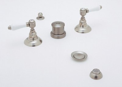 UPC 082443807613, Rohl A1460LMIB, Rohl Bathroom Faucets, Five Hole Bidet Set With Hex Metal L - Inca Brass