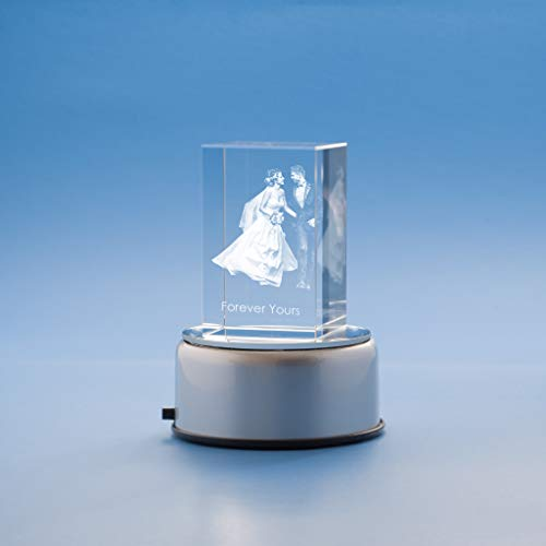 Wedding Tower Crystal, 3D Engraved - Small with Round Base