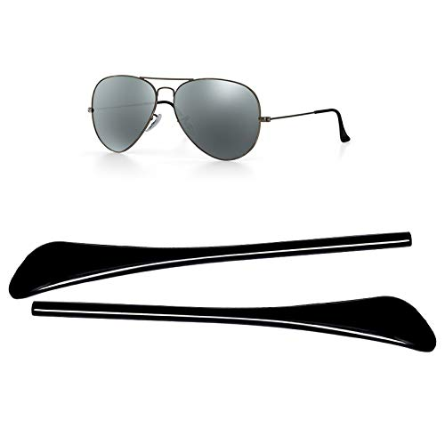 HEYDEFO Replacement Temple Tips Ear Socks for Ray-Ban Aviator RB3025 3026 Sunglasses Repair kits Black,Bonus Sunglasses Bag ()