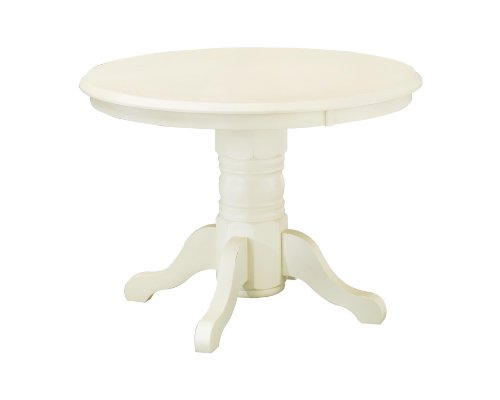 Home Styles 5177-30 Round Pedestal Dining Table, Antique White Finish